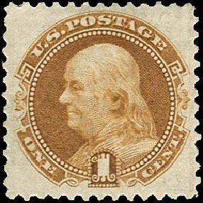 US Stamps Values Scott Catalogue #123: 1875 1c Pictorial Re-issue Franklin. Regency-Superior, Nov 2014, Sale 108, Lot 299