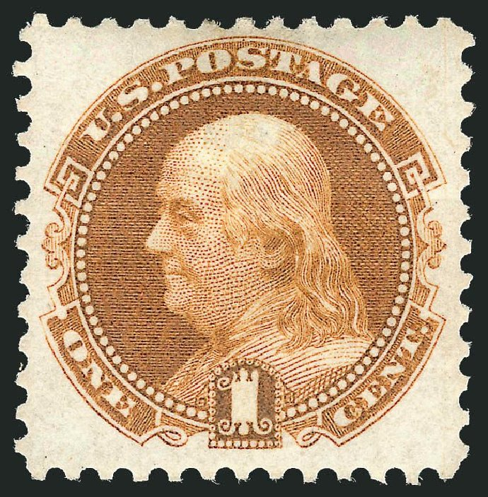 US Stamps Values Scott Catalog 123: 1c 1875 Pictorial Re-issue Franklin. Robert Siegel Auction Galleries, May 2013, Sale 1044, Lot 109