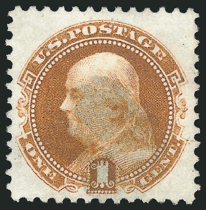 US Stamp Value Scott Catalog 123: 1c 1875 Pictorial Re-issue Franklin. Robert Siegel Auction Galleries, Feb 2015, Sale 1092, Lot 1109