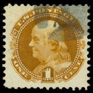 US Stamps Price Scott Cat. 123 - 1875 1c Pictorial Re-issue Franklin. Daniel Kelleher Auctions, Sep 2013, Sale 639, Lot 1050