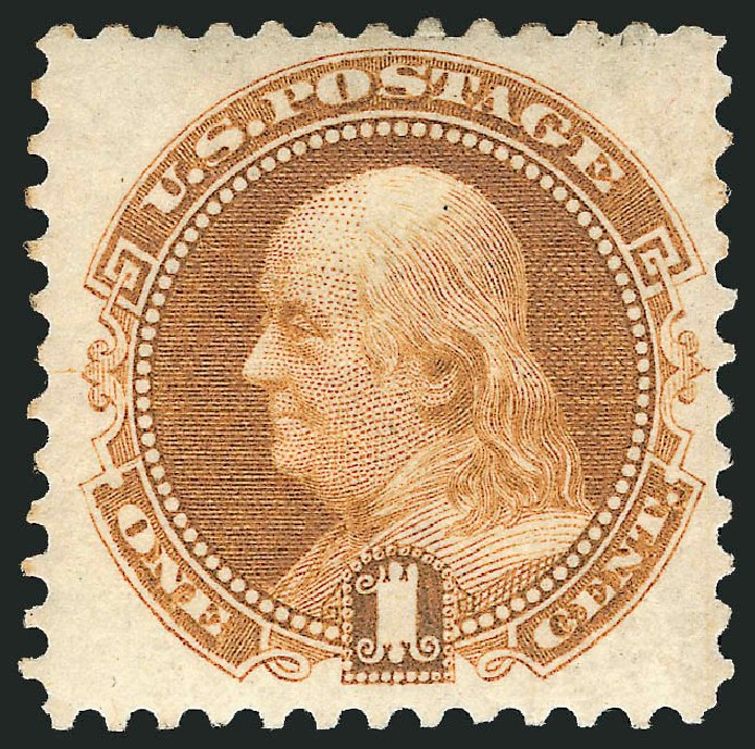 Costs of US Stamp Scott Catalogue # 123: 1875 1c Pictorial Re-issue Franklin. Robert Siegel Auction Galleries, Apr 2015, Sale 1096, Lot 240
