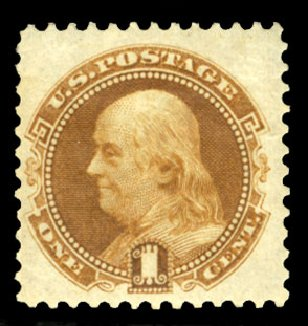 Values of US Stamps Scott Catalogue 123: 1875 1c Pictorial Re-issue Franklin. Cherrystone Auctions, Jul 2013, Sale 201307, Lot 41