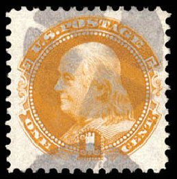 Costs of US Stamps Scott Cat. # 123 - 1875 1c Pictorial Re-issue Franklin. Schuyler J. Rumsey Philatelic Auctions, Apr 2015, Sale 60, Lot 2121
