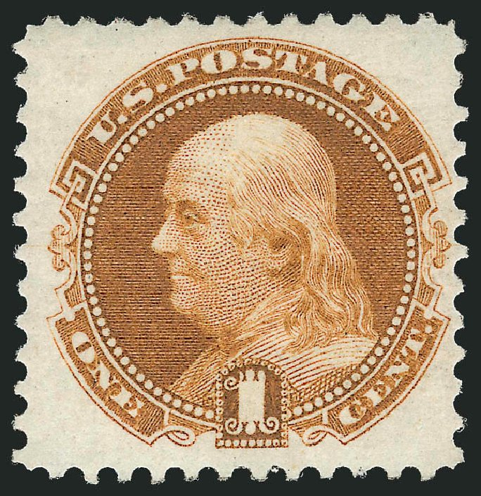 Cost of US Stamps Scott Catalog 123: 1875 1c Pictorial Re-issue Franklin. Robert Siegel Auction Galleries, Jun 2012, Sale 1026, Lot 1275