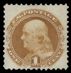 US Stamps Price Scott Cat. 123: 1875 1c Pictorial Re-issue Franklin. Daniel Kelleher Auctions, May 2015, Sale 669, Lot 2592