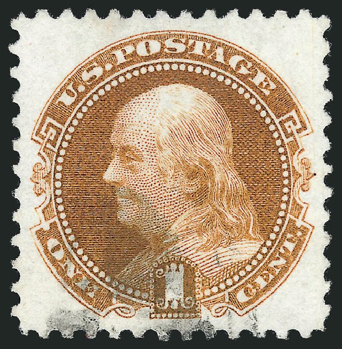 Costs of US Stamps Scott Catalogue 123: 1875 1c Pictorial Re-issue Franklin. Robert Siegel Auction Galleries, Nov 2012, Sale 1034, Lot 132