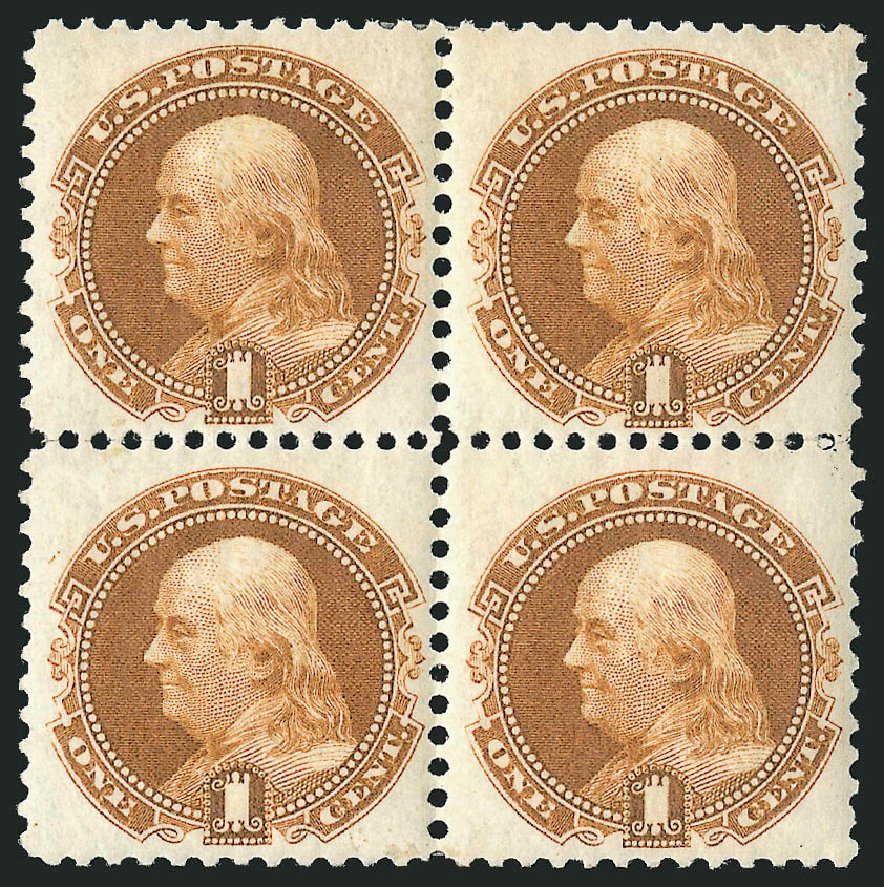 Values of US Stamp Scott 123: 1c 1875 Pictorial Re-issue Franklin. Robert Siegel Auction Galleries, Apr 2015, Sale 1096, Lot 252