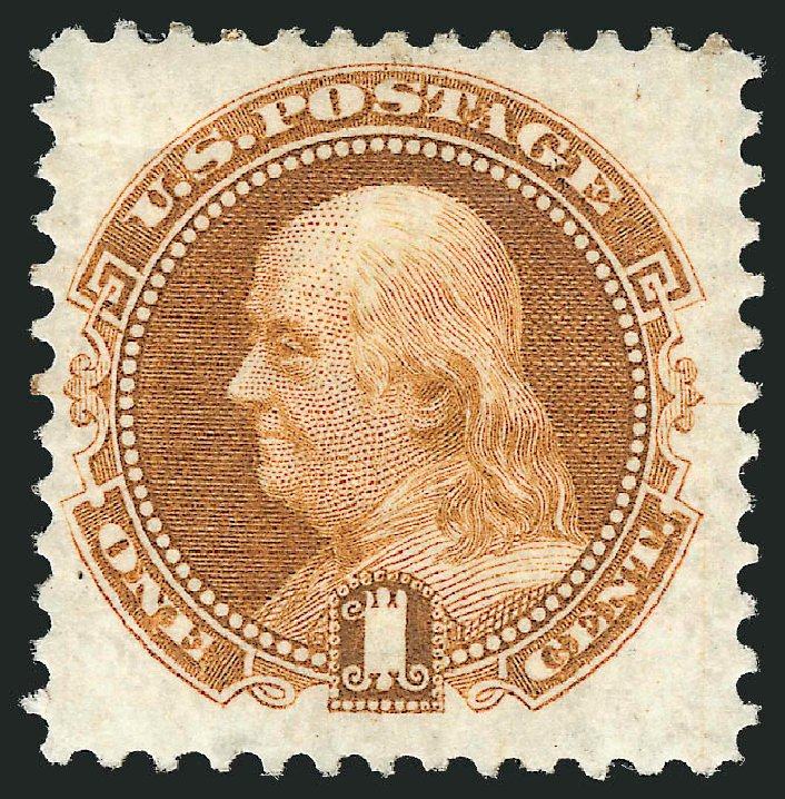Values of US Stamps Scott Cat. 123: 1c 1875 Pictorial Re-issue Franklin. Robert Siegel Auction Galleries, Mar 2012, Sale 1021, Lot 333