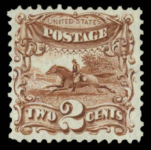 US Stamp Prices Scott Catalog 124: 2c 1875 Pictorial Re-issue Horse Rider. Daniel Kelleher Auctions, Jan 2015, Sale 663, Lot 1360