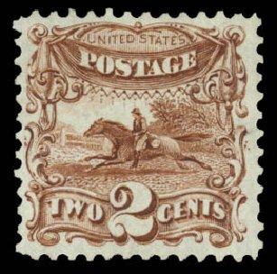 US Stamp Prices Scott Catalog 124: 2c 1875 Pictorial Re-issue Horse Rider. Daniel Kelleher Auctions, Jan 2015, Sale 663, Lot 1360