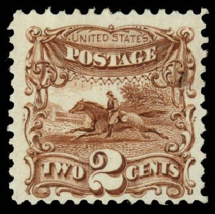 US Stamps Value Scott Catalog 124: 1875 2c Pictorial Re-issue Horse Rider. Daniel Kelleher Auctions, Aug 2015, Sale 672, Lot 2380