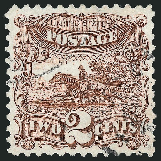 US Stamp Values Scott Catalogue 124: 2c 1875 Pictorial Re-issue Horse Rider. Robert Siegel Auction Galleries, Dec 2014, Sale 1090, Lot 1286