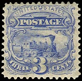 US Stamp Prices Scott Catalog # 125 - 3c 1875 Pictorial Re-issue Locomotive. Regency-Superior, Aug 2015, Sale 112, Lot 287