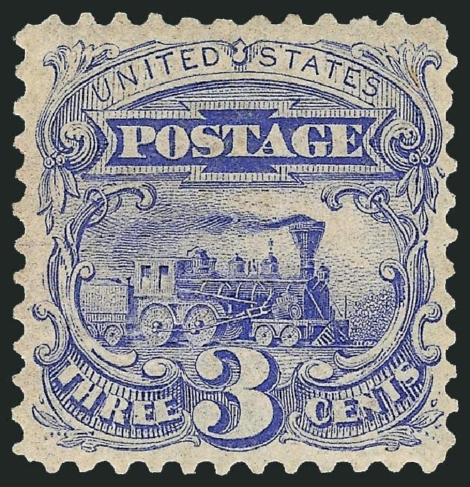 Cost of US Stamps Scott #125 - 1875 3c Pictorial Re-issue Locomotive. Robert Siegel Auction Galleries, Dec 2014, Sale 1090, Lot 1287