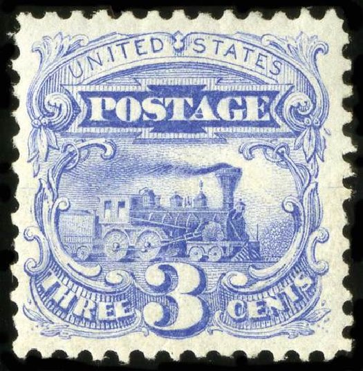 Values of US Stamps Scott Cat. # 125: 3c 1875 Pictorial Re-issue Locomotive. Spink Shreves Galleries, Jul 2015, Sale 151, Lot 118