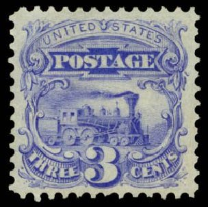 US Stamp Values Scott Catalogue # 125 - 3c 1875 Pictorial Re-issue Locomotive. Daniel Kelleher Auctions, Dec 2014, Sale 661, Lot 129