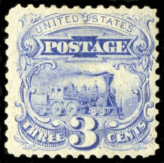 Values of US Stamps Scott Cat. # 125: 3c 1875 Pictorial Re-issue Locomotive. Spink Shreves Galleries, Jul 2015, Sale 151, Lot 119