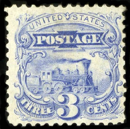 Value of US Stamp Scott Catalog # 125 - 1875 3c Pictorial Re-issue Locomotive. Spink Shreves Galleries, Jul 2015, Sale 151, Lot 120