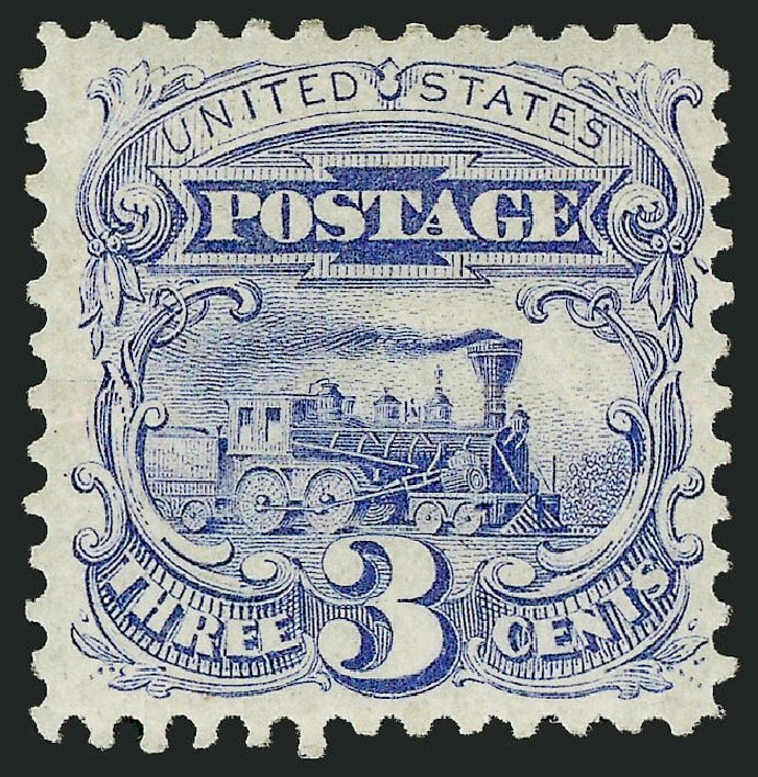 Prices of US Stamp Scott Catalog # 125: 3c 1875 Pictorial Re-issue Locomotive. Robert Siegel Auction Galleries, Feb 2015, Sale 1092, Lot 1111