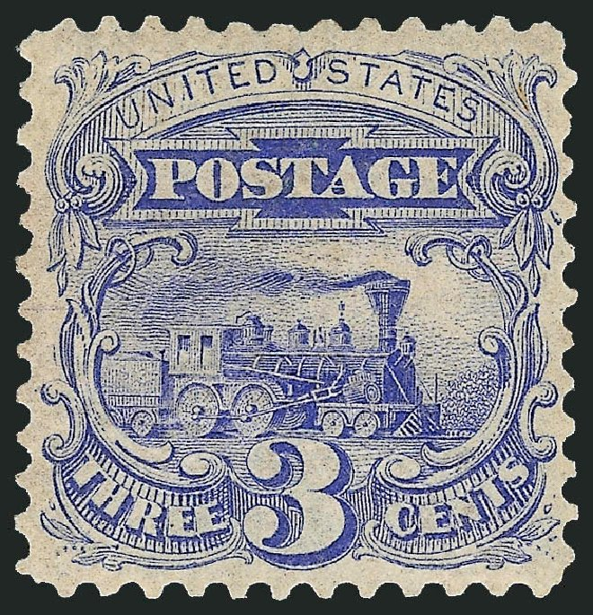 US Stamp Value Scott Cat. #125 - 1875 3c Pictorial Re-issue Locomotive. Robert Siegel Auction Galleries, Jun 2015, Sale 1100, Lot 31