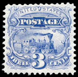 Value of US Stamps Scott Catalogue #125: 1875 3c Pictorial Re-issue Locomotive. Schuyler J. Rumsey Philatelic Auctions, Apr 2015, Sale 60, Lot 2123