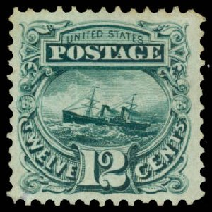 Costs of US Stamps Scott Catalogue #128: 12c 1875 Pictorial Re-issue S.S. Adriatic. Daniel Kelleher Auctions, Aug 2015, Sale 672, Lot 2387