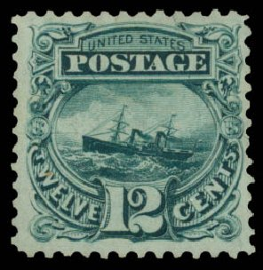 Cost of US Stamp Scott Cat. #128 - 1875 12c Pictorial Re-issue S.S. Adriatic. Daniel Kelleher Auctions, May 2015, Sale 669, Lot 2598
