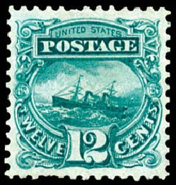 US Stamp Price Scott Catalog #128 - 12c 1875 Pictorial Re-issue S.S. Adriatic. Schuyler J. Rumsey Philatelic Auctions, Apr 2015, Sale 60, Lot 2129