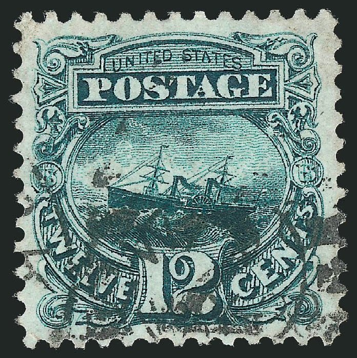 Cost of US Stamps Scott Catalog # 128 - 1875 12c Pictorial Re-issue S.S. Adriatic. Robert Siegel Auction Galleries, Nov 2014, Sale 1084, Lot 3359