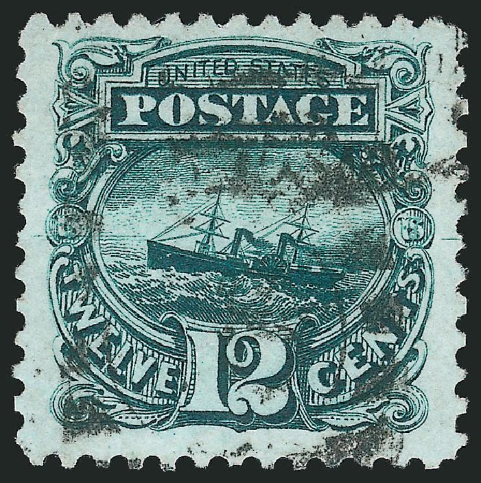 Costs of US Stamp Scott #128 - 1875 12c Pictorial Re-issue S.S. Adriatic. Robert Siegel Auction Galleries, Jun 2015, Sale 1106, Lot 3119