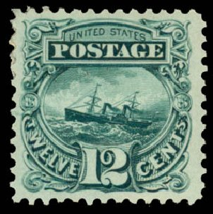 US Stamps Prices Scott #128: 1875 12c Pictorial Re-issue S.S. Adriatic. Daniel Kelleher Auctions, Jan 2015, Sale 663, Lot 1364