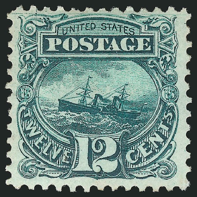 Cost of US Stamps Scott # 128: 12c 1875 Pictorial Re-issue S.S. Adriatic. Robert Siegel Auction Galleries, Apr 2015, Sale 1096, Lot 245