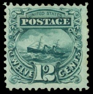 Value of US Stamps Scott Catalogue 128: 1875 12c Pictorial Re-issue S.S. Adriatic. Daniel Kelleher Auctions, Dec 2014, Sale 661, Lot 132