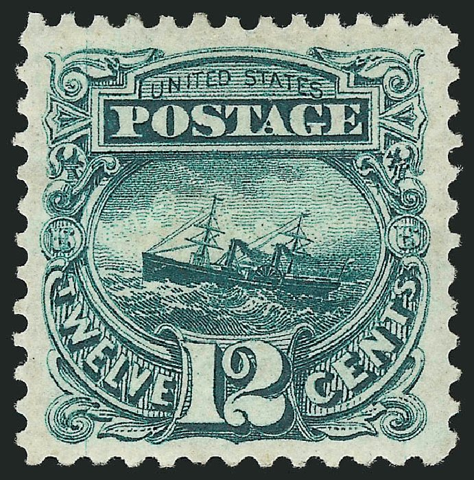 US Stamps Price Scott Catalogue #128: 1875 12c Pictorial Re-issue S.S. Adriatic. Robert Siegel Auction Galleries, Feb 2015, Sale 1092, Lot 1112