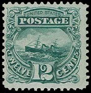 US Stamps Prices Scott Catalog 128 - 1875 12c Pictorial Re-issue S.S. Adriatic. H.R. Harmer, Oct 2014, Sale 3006, Lot 1186