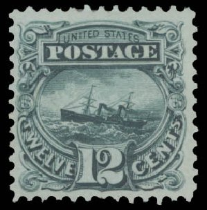 Prices of US Stamp Scott Catalogue #128: 1875 12c Pictorial Re-issue S.S. Adriatic. Daniel Kelleher Auctions, Aug 2015, Sale 672, Lot 2386