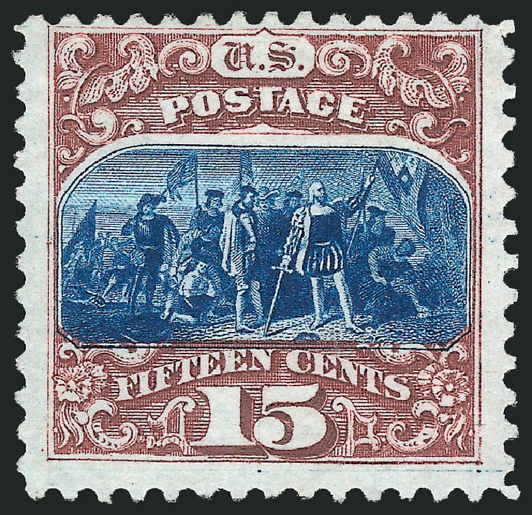 Value of US Stamp Scott Catalogue # 129: 1875 15c Pictorial Re-issue Columbus. Robert Siegel Auction Galleries, Apr 2015, Sale 1096, Lot 247