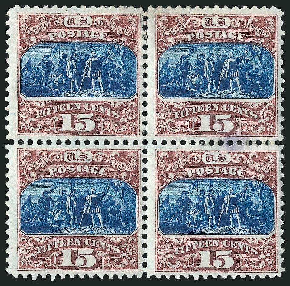 US Stamps Price Scott Catalogue 129: 1875 15c Pictorial Re-issue Columbus. Robert Siegel Auction Galleries, Apr 2015, Sale 1096, Lot 257