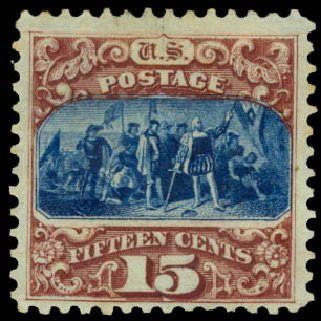 US Stamps Price Scott Catalogue #129: 15c 1875 Pictorial Re-issue Columbus. Daniel Kelleher Auctions, Aug 2015, Sale 672, Lot 2388