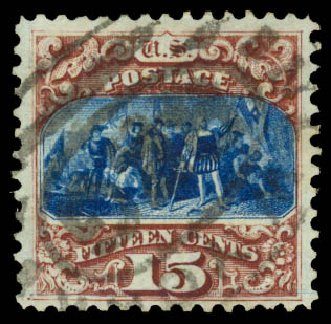 Price of US Stamps Scott # 129 - 15c 1875 Pictorial Re-issue Columbus. Daniel Kelleher Auctions, Aug 2015, Sale 672, Lot 2389
