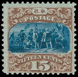 US Stamp Value Scott Catalogue # 129: 15c 1875 Pictorial Re-issue Columbus. H.R. Harmer, Jun 2015, Sale 3007, Lot 3200