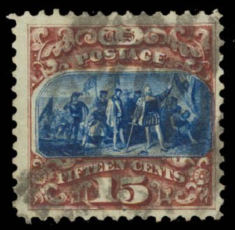 Costs of US Stamps Scott Catalogue 129: 1875 15c Pictorial Re-issue Columbus. Daniel Kelleher Auctions, May 2015, Sale 669, Lot 2600