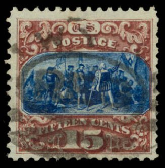Prices of US Stamps Scott Cat. # 129: 1875 15c Pictorial Re-issue Columbus. Daniel Kelleher Auctions, Aug 2015, Sale 672, Lot 2390