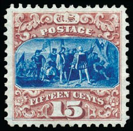 US Stamps Values Scott Cat. # 129: 1875 15c Pictorial Re-issue Columbus. Schuyler J. Rumsey Philatelic Auctions, Apr 2015, Sale 60, Lot 2130