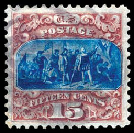 US Stamp Prices Scott Cat. # 129: 15c 1875 Pictorial Re-issue Columbus. Schuyler J. Rumsey Philatelic Auctions, Apr 2015, Sale 60, Lot 2131