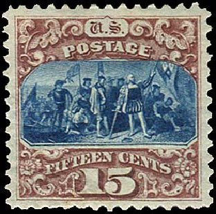 Cost of US Stamps Scott Catalog # 129: 15c 1875 Pictorial Re-issue Columbus. Regency-Superior, Aug 2015, Sale 112, Lot 294
