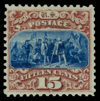 US Stamps Value Scott 129: 15c 1875 Pictorial Re-issue Columbus. Daniel Kelleher Auctions, Jan 2015, Sale 663, Lot 1365