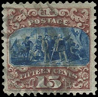 US Stamp Values Scott Cat. #129: 1875 15c Pictorial Re-issue Columbus. Regency-Superior, Aug 2015, Sale 112, Lot 293