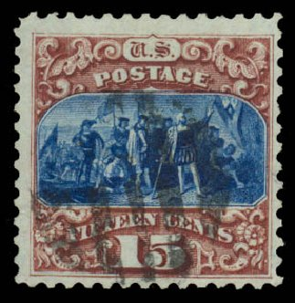 Price of US Stamp Scott Catalogue 129 - 1875 15c Pictorial Re-issue Columbus. Daniel Kelleher Auctions, Jan 2015, Sale 663, Lot 1366