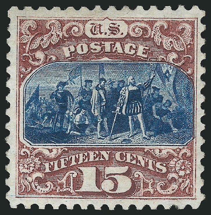 Prices of US Stamps Scott Cat. #129: 1875 15c Pictorial Re-issue Columbus. Robert Siegel Auction Galleries, Apr 2015, Sale 1096, Lot 246